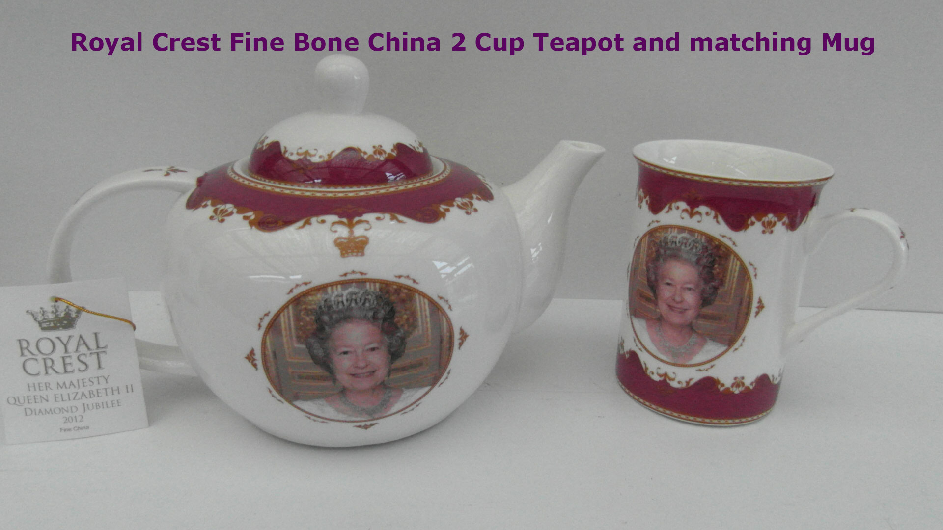 Queen's Diamond Jubilee Bone China Tea Pot & Mug