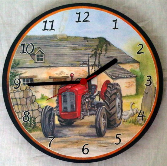 Red Massey Ferguson 35 Tractor Wall Clock