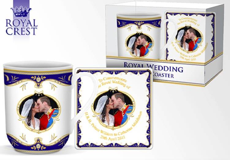 "Royal Wedding ""The Kiss"" Fine Bone China York Mug & Coaster"
