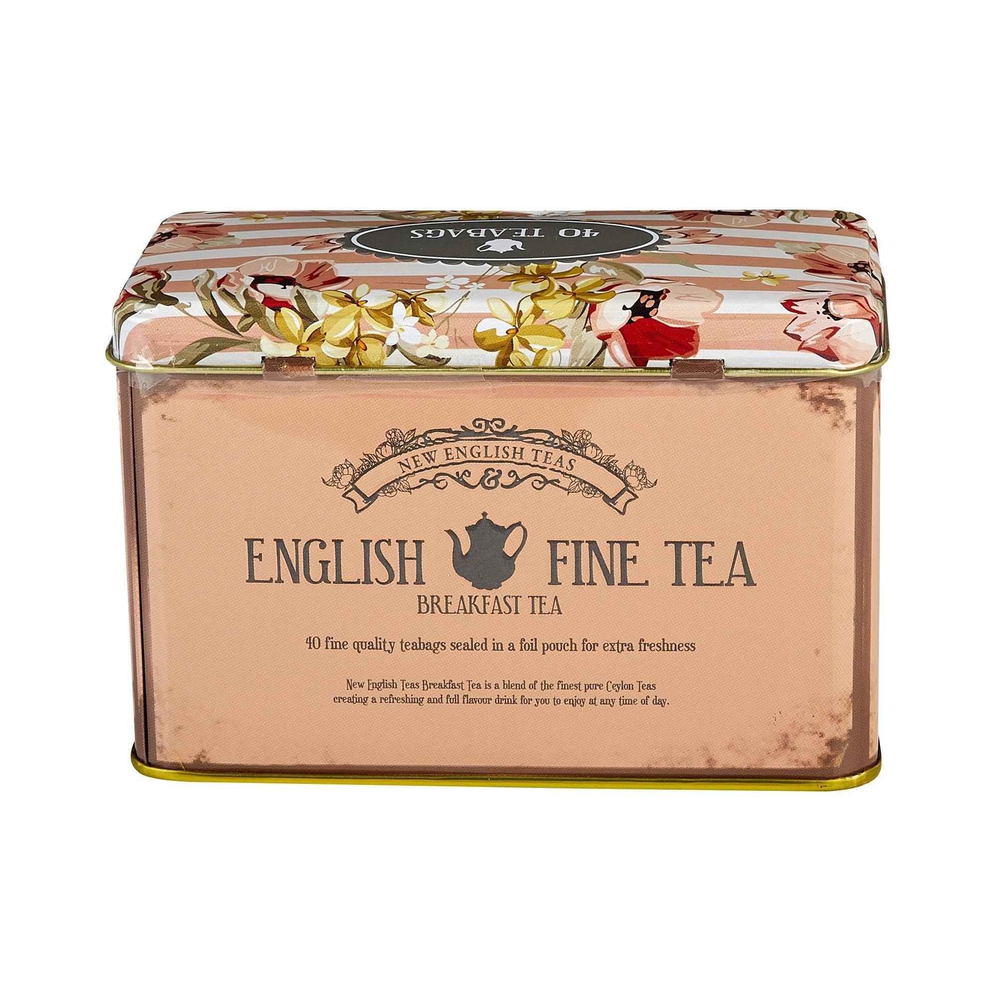 Vintage Floral Fine English Breakfast Tea Tin 40 Teabags